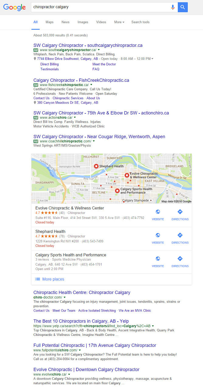 Search engine result for Calgary